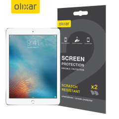"Keep your iPad 2017 (9.7"") and iPad Air 2's screen in pristine condition with this Olixar scratch-resistant screen protector 2-in-1 pack. Ultra responsive and easy to apply, these screen protectors are the ideal way to keep your display looking brand new."
