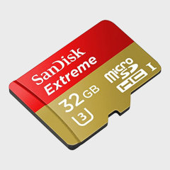 Reduce your transfer times with this fast Micro SD card from SanDisk. With 32GB of storage and UHS Speed Class 3 (U3) rating, this Micro SDHC card is perfect for 4K video capture as well as photo and file storage.