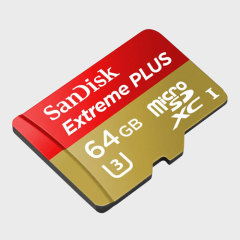 Reduce your transfer times with this fast Micro SD Extreme Plus card from SanDisk. With 64GB of storage and UHS Speed Class 3 (U3) rating, this Micro SDXC card is perfect for 4K video capture as well as photo and file storage.