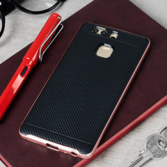 Bumper Frame Huawei P9 Case with Carbon Fibre Design - Rose Gold