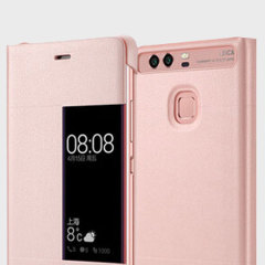 Original Huawei P9 Smart View Flip Case Tasche in Pink