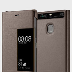 Original Huawei P9 Smart View Flip Case Tasche in Braun