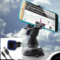 Das Pack enthält wesentliche Elemente, die Sie für Ihr Handy während einer Autofahrt benötigen. Ausgestattet mit einem robusten Autohalterung und einem Autoladegerät mit zusätzlichen USB-Port für Ihr LG G5.