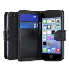Envuelva su iPhone 5S / 5 en la protección lujosa, sofisticada con la funda negra con soporte de Encase. Esta elegante funda tiene ranuras para tarjetas de crédito y se puede transformar en un práctico soporte de visualización
