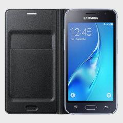 Official Samsung Galaxy J1 2016 Flip Wallet Cover - Black