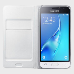 Protect your Samsung Galaxy J1 2016's back, sides and screen from harm while keeping your most vital cards close to hand with the official flip wallet cover in white from Samsung.