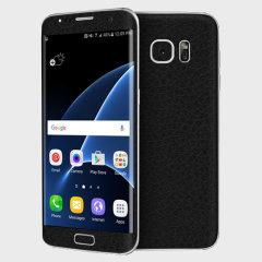 dbrand Cover Samsung Galaxy S7 Edge Schwarz-Leder Skin Schwarz