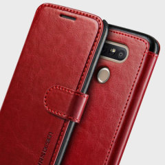 The VRS Design Dandy Wallet Case in red for the LG G5 comes complete with card slots, a large document pocket and is made with a luxurious leather-style material for a classic, prestige and professional look.