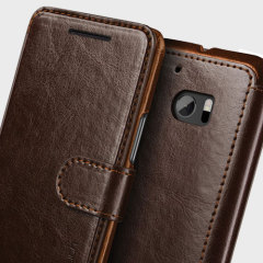 VRS Design Dandy Leather-Style HTC 10 Plånboksfodral - Brun