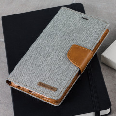 With the perfect blend of lightweight and tough materials, mixed with snappy looks, this grey and camel Mercury Canvas Diary Wallet Case is the ideal companion for your Huawei P9, especially when you're out and about.