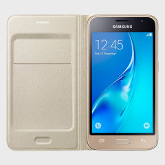 Protect your Samsung Galaxy J1 2016's back, sides and screen from harm while keeping your most vital cards close to hand with the official flip wallet cover in gold from Samsung.