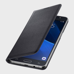 Protect your Samsung Galaxy J5 2016's back, sides and screen from harm while keeping your most vital cards close to hand with the official flip wallet cover in black from Samsung.