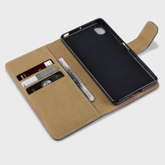 Olixar Leather-Style Sony Xperia X Wallet Case - Black / Tan