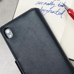 Olixar Premium Sony Xperia XA Ledertasche Wallet Case in Schwarz