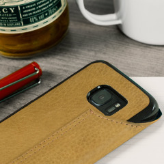 Vaja Agenda Samsung Galaxy S7 Edge Premium Leather Case - Tan Brown