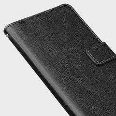 The Olixar Wallet Case in black sticks to the back of your Huawei Y6 to provide enclosed protection and can also be used to hold your credit cards.