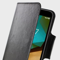Wrap your Vodafone Smart Prime 7 in luxurious, sophisticated protection with the black Olixar Leather-Style Wallet Stand Case. This stylish case has credit card slots and can transform into a convenient viewing stand.