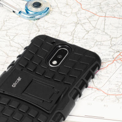 Protect your Lenovo Moto G4 Plus from bumps and scrapes with this black Olixar ArmourDillo case. Comprised of an inner TPU case and an outer impact-resistant exoskeleton, the ArmourDillo provides robust protection and supreme styling.