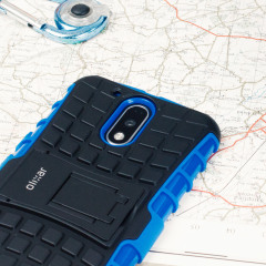 Protect your Lenovo Moto G4 from bumps and scrapes with this blue Olixar ArmourDillo case. Comprised of an inner TPU case and an outer impact-resistant exoskeleton, the ArmourDillo provides robust protection and supreme styling.