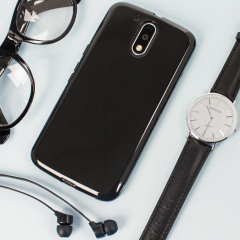 Custom moulded for the Lenovo Moto G4 Plus this solid black FlexiShield case by Olixar provides slim fitting and durable protection against damage.