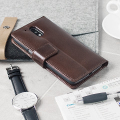 A sophisticated lightweight brown genuine leather case with a magnetic fastener. The Olixar genuine leather wallet case offers perfect protection for your Lenovo Moto G4 Plus, as well as slots for your cards, cash and documents plus a built-in stand.