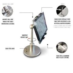 El soporte de tablet FLOTE Orbit , fabricado en acero macizo y aluminio, es un soporte de precisión de alta calidad que mejorará la experiencia de su tableta y es perfecto para ver películas y navegar por la web con la tableta sostenida en su ángulo de visión ideal.