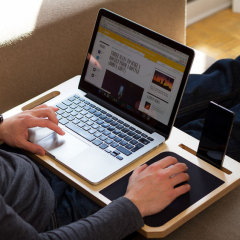 Make using your MacBook on your lap a truly enjoyable experience whilst keeping your smartphones and tablets in view with the Lap tray organiser from LapPad. Made from exquisite pieces of wood, the LapPad matches the sleek aesthetics of your devices.
