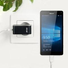 Chargez votre Microsoft Lumia 950 XL et vos appareils USB rapidement et en toute simplicité grâce à ce chargeur secteur 2.4A haute puissance compatible USB-C. Ce chargeur est fourni avec un câble USB vers USB-C.