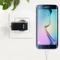 Chargez votre Samsung Galaxy S6 Edge et vos appareils USB rapidement et en toute simplicité grâce à ce chargeur secteur 2.4A haute puissance compatible Micro USB. Ce chargeur est fourni avec un câble USB vers Micro USB.
