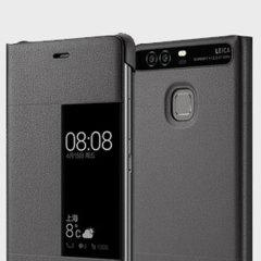 Original Huawei P9 Plus Smart View Flip Case Tasche in Dunkel Grau