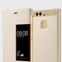 Protect your Huawei P9 Plus's screen and keep to date with the time and notifications thanks to the intuitively designed smart view window in the gold Huawei flip case. Crafted from the finest materials, the case provides a sophisticated feel.