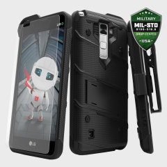 Equipe su LG Stylus 2 con esta funda con una protección de grado militar. Incluye además un protector de pantalla de cristal templado y un clip de cinturón.
