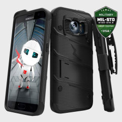 Zizo Bolt Series Galaxy S7 Edge Tough Case Hülle & Gürtelclip Schwarz