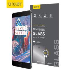 Deze ultra dunne screen protector van gehard glas voor de OnePlus 3T / 3 van Olixar biedt sterke bescherming, hoge zichtbaarheid en gevoeligheid allemaal in één.