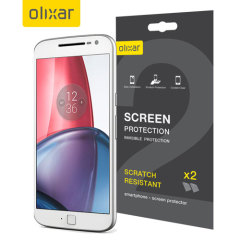 Keep your Lenovo Motorola Moto G4 screen in pristine condition with this Olixar scratch-resistant screen protector 2-in-1 pack.