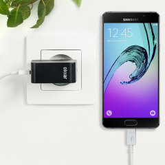 Cargue su Samsung Galaxy A5 2016 o cualquier otro dispositivo mediante conexión USB de manera rápida y eficaz. Este cargador de red Olixar tiene una salida de 2.4A para una carga rápida e incluye un cable Micro USB.
