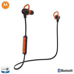Presentamos los auriculares VerveLoop + en negro y naranja de Motorola. Con tecnología Bluetooth y un diseño a prueba de sudor y agua, estos auriculares son perfectos para el aire libre y su entrenamiento diario.