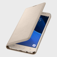 Protect your Samsung Galaxy J5 2016's back, sides and screen from harm while keeping your most vital cards close to hand with the official flip wallet cover in gold from Samsung.