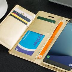 Dispone del equilibrio perfecto entre protección y elegancia, con funcionalidad y estilo. Esta funda fabricada por Mercury es la compañía ideal para su Samsung Galaxy Note 7. Incluye, en el interior de la tapa delantera, 5 ranuras para almacenar tarjetas o documentos, con lo que le hace perfectamente la función de cartera.