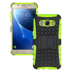 Protect your Samsung Galaxy J5 2016 from bumps and scrapes with this green Olixar ArmourDillo case. Comprised of an inner TPU case and an outer impact-resistant exoskeleton, with a built-in viewing stand.