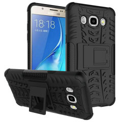 Protect your Samsung Galaxy J5 2016 from bumps and scrapes with this black Olixar ArmourDillo case. Comprised of an inner TPU case and an outer impact-resistant exoskeleton, with a built-in viewing stand.