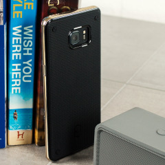 The Patchworks Flexguard in gold is a stylish and ergonomic protective case for the Samsung Galaxy Note 7, providing impact absorption and improved grip due to the textured surface.