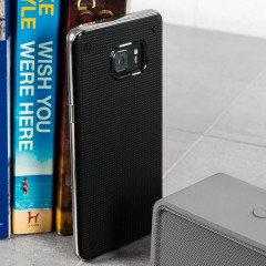 The Patchworks Flexguard in silver is a stylish and ergonomic protective case for the Samsung Galaxy Note 7, providing impact absorption and improved grip due to the textured surface.
