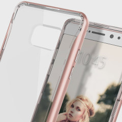 Protect your Samsung Galaxy Note 7 with this precision made rose gold and clear case from Caseology. Made with a robust minimalist ethic, this see-through case offers protection for your phone while still maintaining its natural charms.