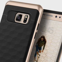 Protect your Samsung Galaxy Note 7 with this stunning premium dual-layered shell case in black and gold. Made with tough dual-layered yet slim material, this hardshell body with a sleek metallic bumper features an attractive two-tone finish.