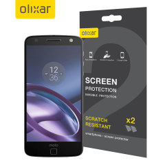 Keep your Motorola Moto Z Force's screen in pristine condition with this Olixar scratch-resistant screen protector 2-in-1 pack.