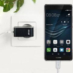 Cargue su Huawei P9 Plus u otros dispositivos USB de manera rápida y eficiente gracias a este cargador Olixar compatible con la carga rápida hasta 2.4A. Se incluye también un cable con conexión USB-C.
