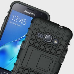 Protect your Samsung Galaxy J1 2016 from bumps and scrapes with this black Olixar ArmourDillo case. Comprised of an inner TPU case and an outer impact-resistant exoskeleton, with a built-in viewing stand.