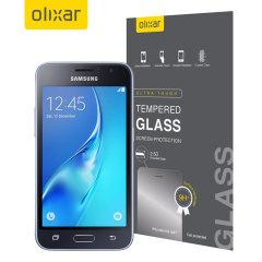 Olixar Samsung Galaxy J1 2016 Tempered Glas Displayschutz