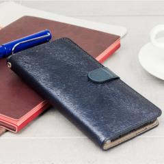 Hansmare Calf Samsung Galaxy Note 7 Wallet Case Hülle in Navy